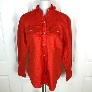 Lauren Ralph Lauren Red Orange Long Sleeve Button